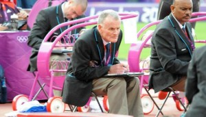 Chris Stott acting as Chief Judge for the Discus at the Olympic Games